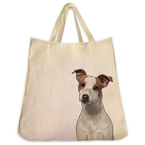Jack Russell Extra Large Eco Friendly Reusable Cotton Twill Shopping Handbag And Tote Bag (Jack Russell Dachshund)