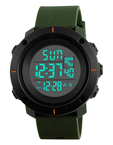 Big Face Men Digital Sports Watch Water Resistant Outdoor Easy Read Military Back Light Black Watch