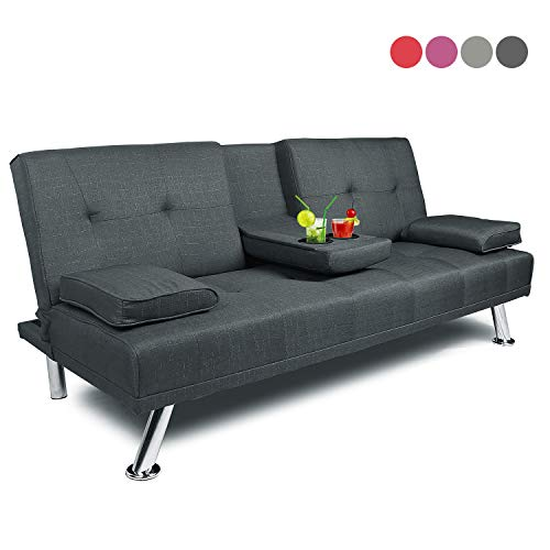 Futon Sofa Bed Twin Size Sleeper, Convertible Lounge Couch with Armrest 2 Cup Holders Linen Fabric Metal Legs Dark Grey