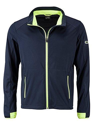 bleu (Navy Bright-jaune) XL JAMES & NICHOLSON Hommes's Sports Softshell veste, Blouson Homme