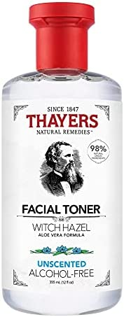 THAYERS Witch Hazel Unscented Face Toner, Natural, Alcohol Free with Aloe Vera, Hydrating and Refreshing for A