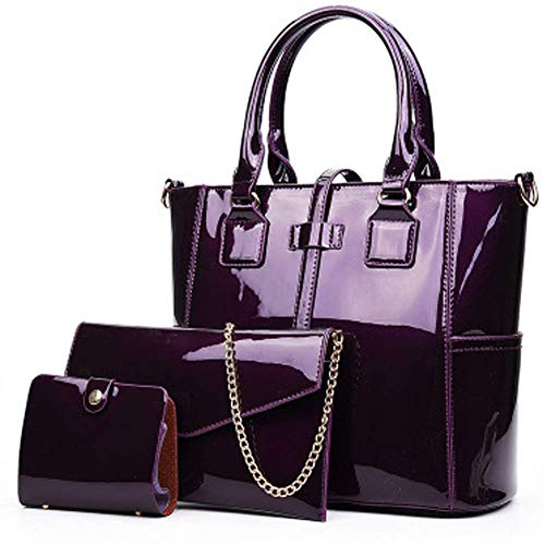 Aishankra Lady Patent Leather Bag Women's Tote Purse Handbag Shoulder Bag Satchel Crossbody Bag Large Capacity Ladies Messenger Bag Women Card Package 3 Piece Suitable for Everyday Dating Party,B ()