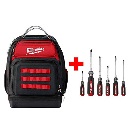 Milwaukee Ultimate Jobsite Black 15 in. Backpack with Screwdriver Cushion Grip Set -
