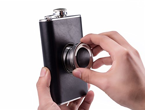 Heesung-Shot-Flask-Stainless-Steel-8-Ounce-Hip-Whiskey-Flask-Gift-Set-with-a-Built-in-Collapsible-2-Oz-Shot-Glass-Bonus-Stainless-Steel-Flask-Funnel-8-oz-Hip-Flask-With-Premium-Black-PU-Leather