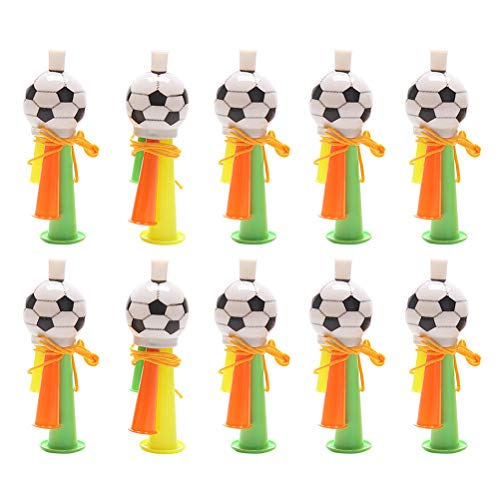 (Amosfun Whistle Toys Football Trumpet Plastic Cheerleader Football Match Whistle Games Cheering Prop Whistle for Indoor Outside Party Sports 10pcs Random Color)