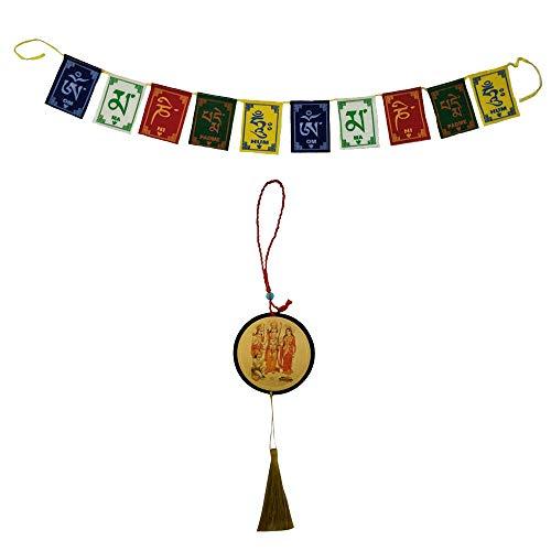 Divya Mantra Combo of Tibetan Buddhist Om Mani Padme Hum Positive Vibes Prayer Flags & Sri Ram Sita Laxman Hanuman Talisman Car Rear View Mirror Hanging Interior Decor Ornament Accessories/Good Luck