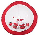 Red and White Christmas Tree Skirt by Clever Creations | Design with Santa and Snowman | Classic Holiday Decor | Catches Falling Needles Aids in Cleanup | Perfect for Any Size Tree | 42'' Diameter