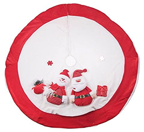 """Red and White Christmas Tree Skirt by Clever Creations   Design with Santa and Snowman   Classic Holiday Decor   Catches Falling Needles Aids in Cleanup   Perfect for Any Size Tree   42"""" - Design Christmas Tree Skirt"""