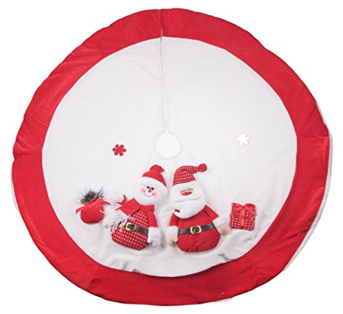 Pendant Box Pleat - Clever Creations Red and White Christmas Tree Skirt Design with Santa and Snowman | Classic Holiday Decor | Catches Falling Needles Aids in Cleanup | Perfect for Any Size Tree | 42