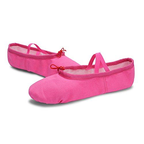 L-RUN Mädchen / Frauen Canvas Ballett Tanzschuhe / Ballett Versender / Yoga Schuh Rose Rot