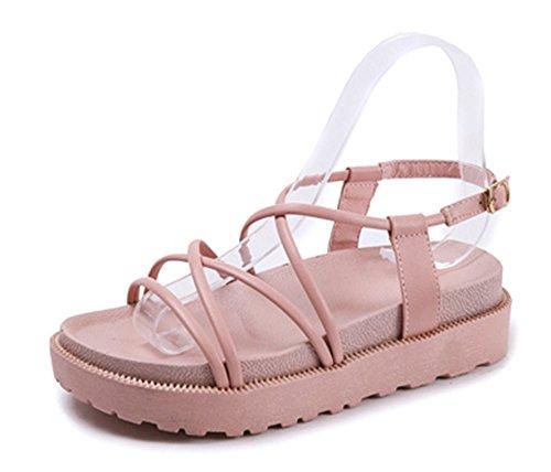 Femmes Summer Fashion Bandages Muffin Chaussures Talons Plats Sandales de Plage Rose