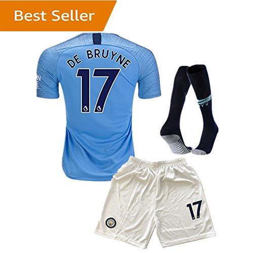 SUIROSE #17 DE BRUYNE Manchester City Kids/Youth Home Boys Soccer Jersey & Shorts & Socks 18-19 Season Blue