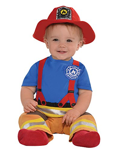 AMSCAN Baby First Fireman Costume for Infants, 6-12 Months, with Included Accessories