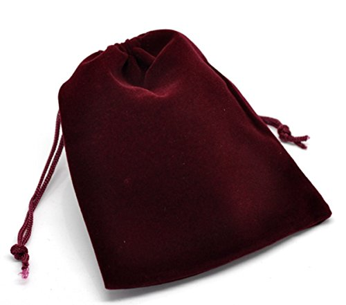 HooAMI Dark Red Velvet Drawstring Pouches Jewelry Gift Bags (Velour Drawstring Jewellery Pouches)