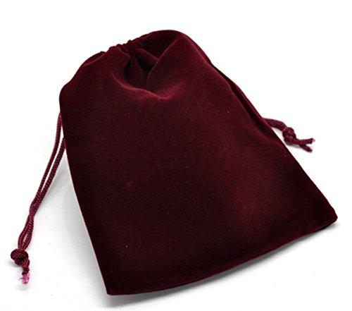 Velour Drawstring (HooAMI Dark Red Velvet Drawstring Pouches Jewelry Gift Bags 10pcs,12x10cm(4-3/4 x 3-7/8))