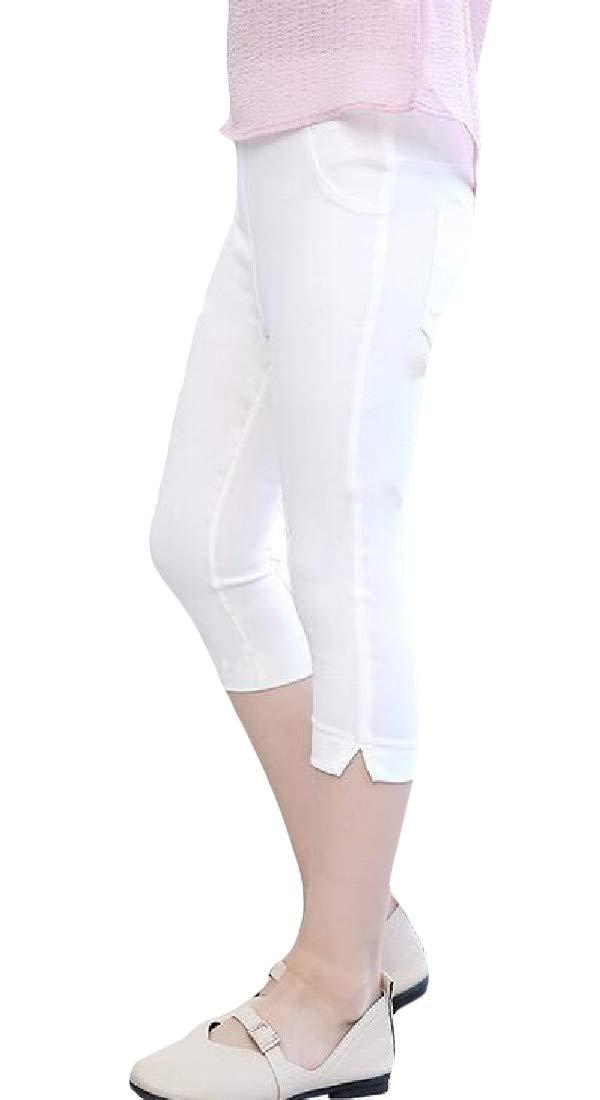 Wofupowga Girl Slim Solid Summer Stretchy Capri Pants Legging White 4T