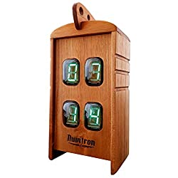 Nuvitron Chroniker Armstrong | Fluorescent Clock | A Unique Wood Alarm Desk Clock with Vintage Repurposed Electroluminescent Displays | Unique Mantle Clocks | Office Gadgets for Men