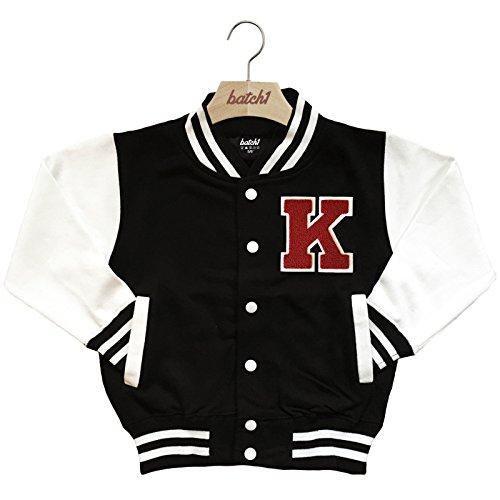 Batch1 Kids Varsity Baseball Jacket Personalised With Genuine Us College Letter K (7-8 Years, Black) (Letter Jackets For Kids)