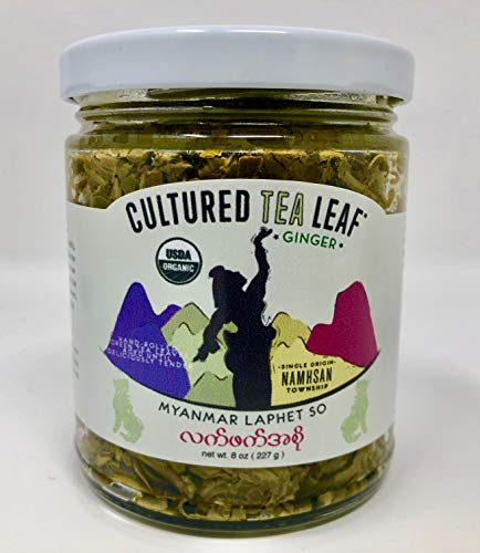 USDA Certified Organic 'LAPHET SO' EDIBLE TEA LEAF DELICACY hand-made with Extra Virgin Olive Oil--Cultured Tea Leaf brand--Burmese GINGER FLAVOR (Vegan, Gluten-free, Keto, Paleo) Myanmar Burma