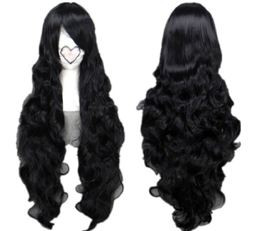 Long Black Curly Costume Wig