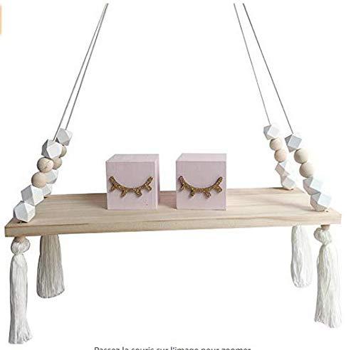 Snner 1 Pack Blanca n/órdicos Estante de la Pared repisa Estante con Cuerdas flotantes-Dise/ño de Interiores