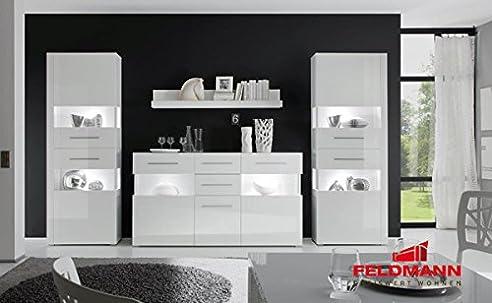 Wohnzimmer Set 440906 Weiß / Weiß Hochglanz 4-Teilig: Amazon.De