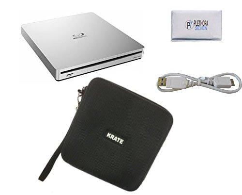Pioneer BDR-XS06 Slim Portable Blu-Ray Writer USB 3.0 BD/DVD/CD 6x External Slot Burner (Silver) for MAC - Bonus Protective Carrying Case & Microfiber Disc Cleaning Cloth