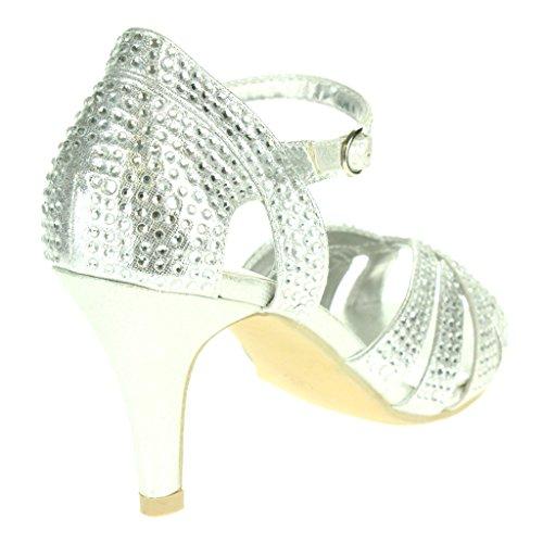 Mujer Señoras Diamante Peep Toe Correa de tobillo Tacón alto Noche Fiesta Nupcial Boda Paseo Sandalias Zapatos Tamaño Plata