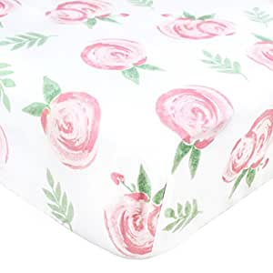 """Premium Fitted Cotton Crib Sheet / Toddler Sheet """"Grace Floral"""" by Copper Pearl"""