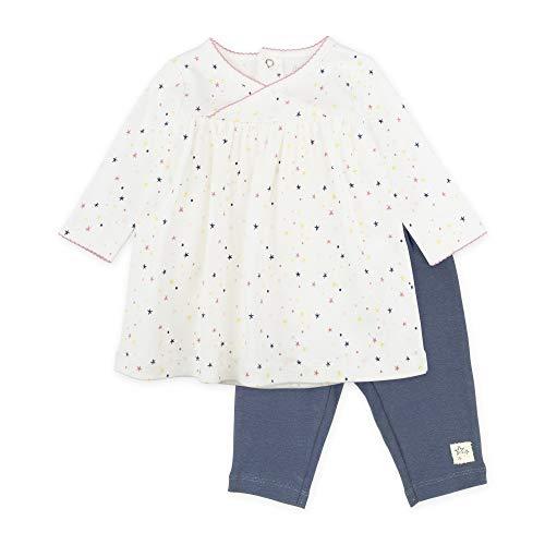 Mac & Moon Baby Girl Outfit Set, 2-Piece Fashion Set with Dress & Leggings, Newborn, White, Navy