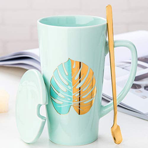 Creative ceramic cup large capacity mug with lid spoon coffee cup green - leaf petals ()