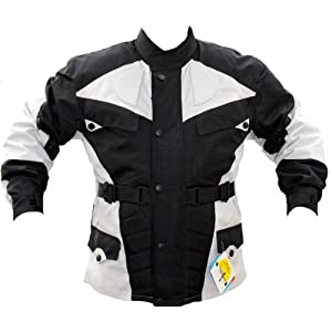 German Wear de Veste de Moto, Noir/Gris Clair, M