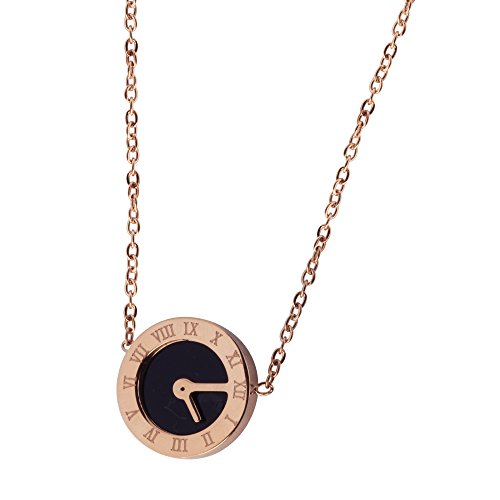 - Black Natural Seashell Necklace Pendant- Jewelry for Women Hypoallergenic 316L Stainless Steel Rose Gold Plated with Expandable Chain - Clock Roman Numerals Letters Design Womens Clothing Accessories