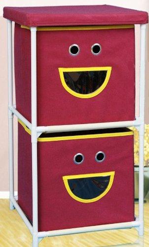 Spetebo Kinder Stoffkommode Gesicht mit 2 Schubladen in lila