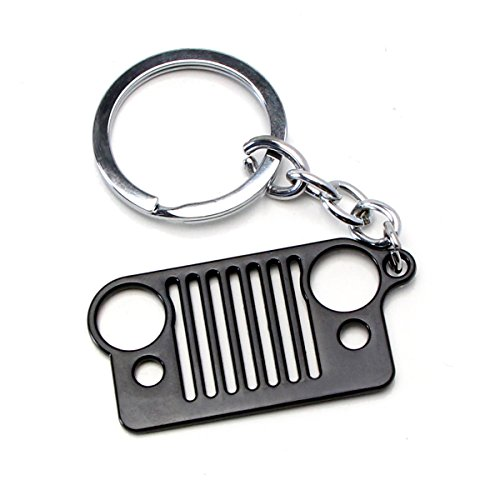 Jeep Wrangler Renegade (iJDMTOY (1) Matte Black Iconic Jeep Willys Front Bumper Grill Shape Key Chain Ring Keychain)