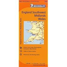 Michelin Great Britain: Wales, England Midlands & Southwest /  Grande Bretagne: Pays de Galles, les Midlands, Angleterre du Sud Ouest  Map 503