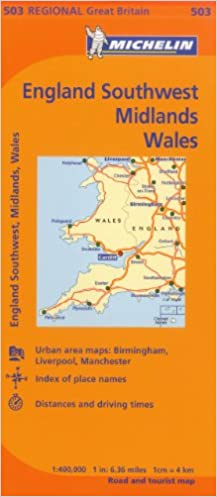 Michelin Map Great Britain Wales The Midlands South West England