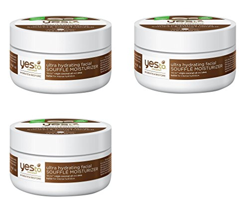 Yes to Coconut Ultra Hydrating Facial Souffle Moisturizer, 1.7 Oz (3 Pack) + FREE Assorted Purse Kit/Cosmetic Bag Bonus Gift