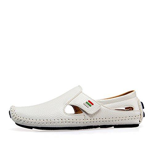 Glissement Occasionnels Chaussures conduisant de Chaussures Mocassins Mocassins Masculins Printemps Chaussures Hommes des Plus sur en White Hommes Homme 2 d'été Size Cuir de de des ApTpxB