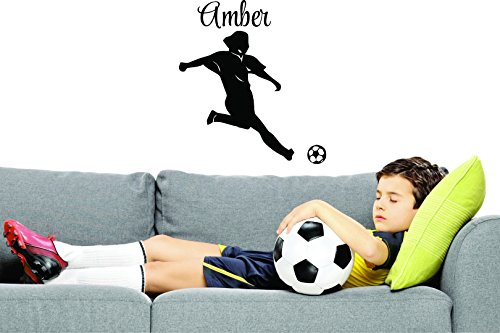 PERSONALIZED Custom Name Soccer Player Sports Team Kids Sticker Vinyl Wall Decal 20 Inches x 40 Inches by Design with Vinyl