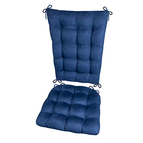 Barnett Products Rocking Chair Cushions - Microsuede Royal Blue Micro Fiber Ultra Suede - Standard - Reversible, Latex Foam Filled Cushion - Made in ()