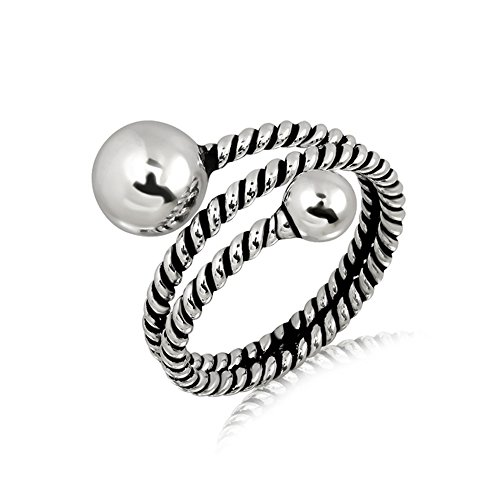 (Oxidized Sterling Silver Rope Wrap Around Band and Round Ball Spheres Ring, Size 7 )