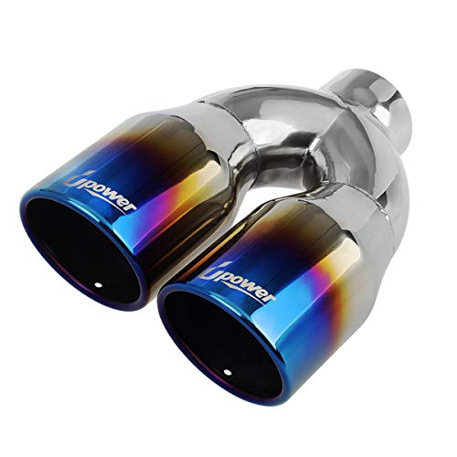 "Upower Dual Exhaust Tips Tailpipe 2.5 Inch Inlet 3.5"" Outlet 10"" Length Vaccum Plating Blue 1.2mm Thickness Weld On (Single Wall,Rolled Edge)"