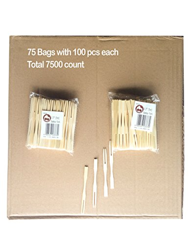 Cherry Goods - Natural Bamboo Fruit Fork and Cocktail Pick, 3.5 inch Set of 7500 (75x100pcs) By The Box Buy Bulk by Cherry Goods