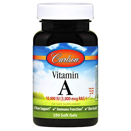 Carlson – Vitamin A, 10000 IU (3000 mcg RAE), Vitamin A Supplements, Immune Support, Vision Health, Antioxidant, 250…