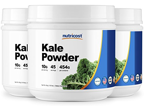 Nutricost Kale Powder 1LB (3 Bottles) - All Natural, Non-GMO, Gluten Free, Pure, Premium Kale by Nutricost