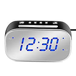 MoKo Mirror Alarm Clock, Large 1.4 LED Display Table Desk Lamp Makeup Mirror Travel Clock for Office Bedroom Bathroom, Dual Alarm with Snooze, Dimmer Control, Backup Battery (Not Included) - Black