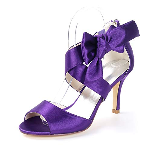 (Creativesugar Women's Eggplant Purple Bow Sandals Satin Dress Shoes Wedding Heels (10))
