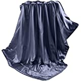 THXSILK 100% Mulberry Silk Inside and Out Luxury Throw Blanket for Sofa Office Travel Children (53x70 inch, Blue)