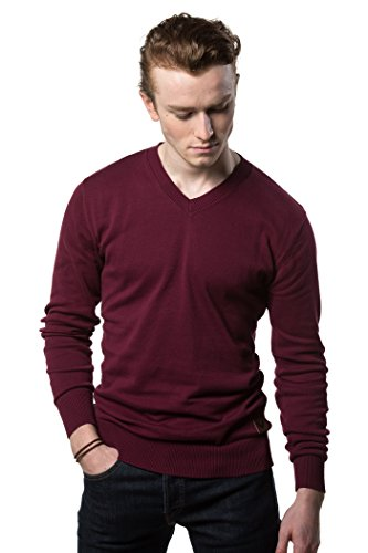 Gallery Seven V Neck Sweater For Men - Cotton Lightweight Mens Pullover, Burgundy, S
